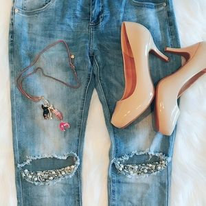 Pearl Trim Ripped Knee Jeans